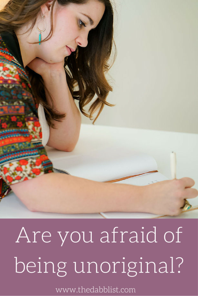 """Are you Afraid of Being Unoriginal? How many women are there in the world right now actively preventing themselves from sharing their authentic voice and creative gifts with the world because they are afraid of being seen as """"unoriginal""""? Too many, that's how many! So I'm going to tell you what I told my friend that day…"""